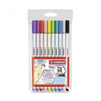 Caneta Brush Pen 68 Stabilo Com 10 Cores