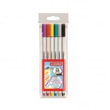 Caneta Brush Pen 68 Stabilo Com 6 Cores