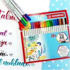 Caneta Brush Pen 68 Stabilo Com 24