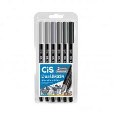 Caneta Brush Pen Dual Brush Tons de Cinza