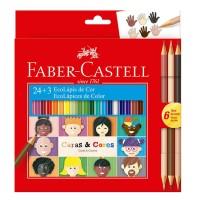 Lapis de Cor Faber Castell 24+ 3 Cores Caras & Cores