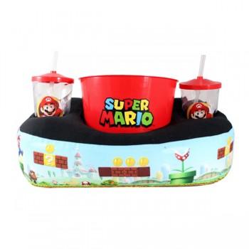 Kit Almofada Porta Pipoca Super Mario